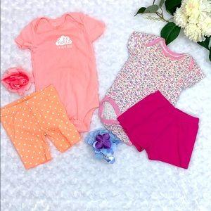 Baby Girl Onesie & Shorts Bundle Size 12 Months